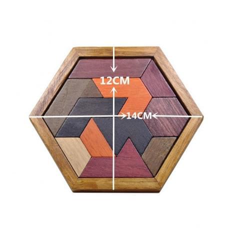 Пазл шестиугольный деревянный